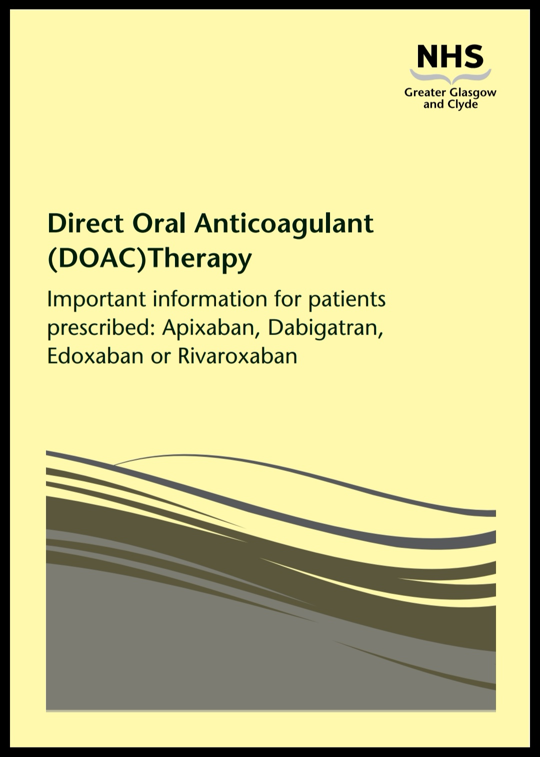 Image of front cover of the new NHSGGC DOAC booklet